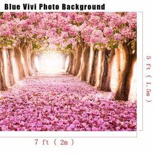7'x5' Vinyl Cherry Blossom Tree & Road Backdrop